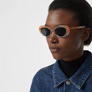 Burberry orange glitter grey lens oval sunglasses